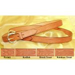 "Fennell 1"" Leather Belt with Embossed Fish"