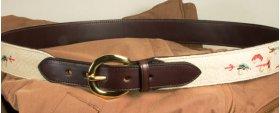 Needlepoint belt in Dark Brown leather