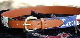 Needlepoint belt in Chestnut leather