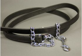 Leather Lead Shank with Chrome Chain
